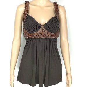 SKY Leather Cut Out Trim Sleeveless Top Size S
